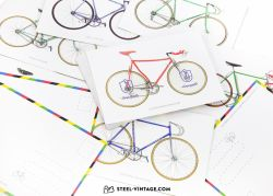 Set of 9 Postcards with Vintage Bicycles