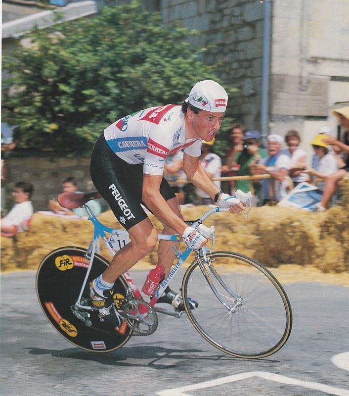 Stephen Roche with toe-clips pedals in 1987