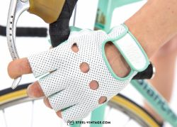 SVB Perforated Leather Cycling Gloves - White/Celeste